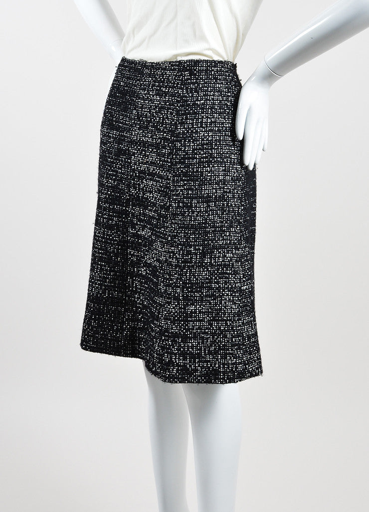 Black and White Chanel Wool Tweed 'CC' A-Line Knee Length Skirt Sideview
