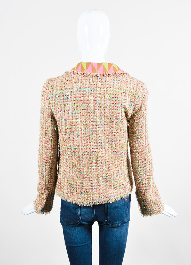 Chanel Tan and Multicolor Tweed Ribbon Knit Flower Jacket Backview
