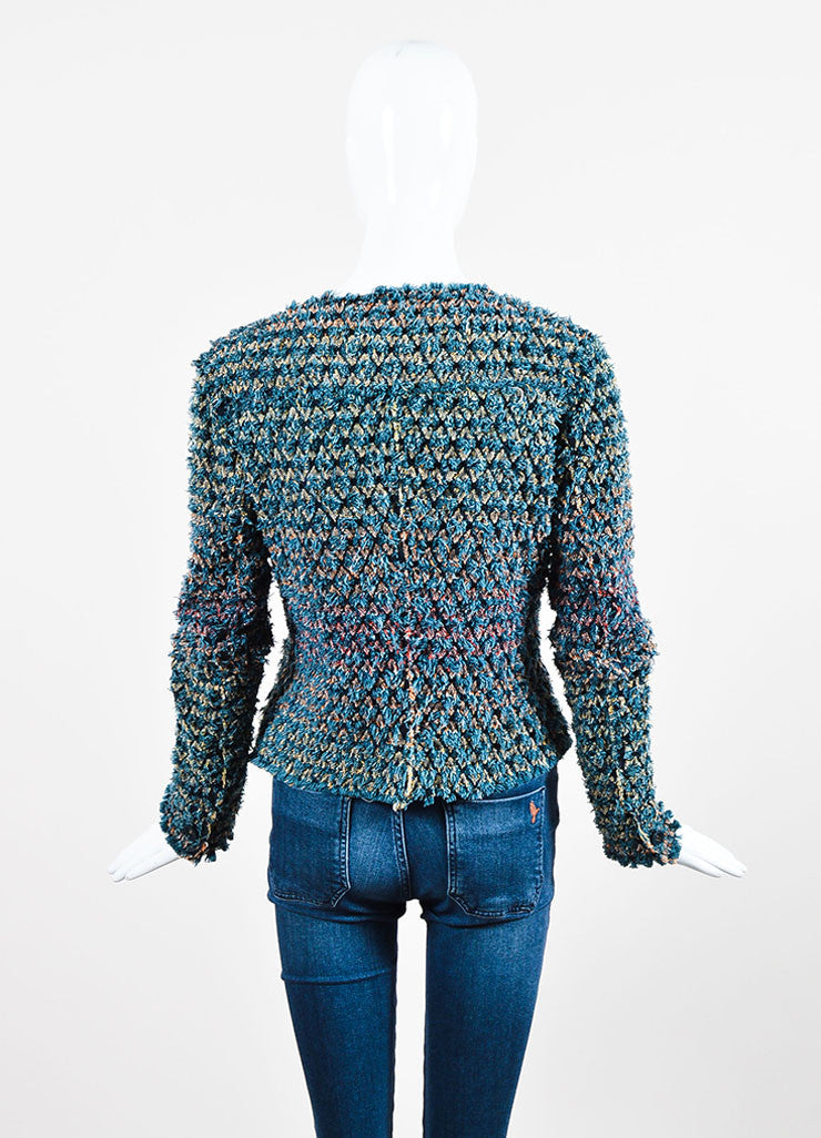 Blue, Red, and Yellow Chanel Cotton Shag Crochet Cardigan Sweater Backview