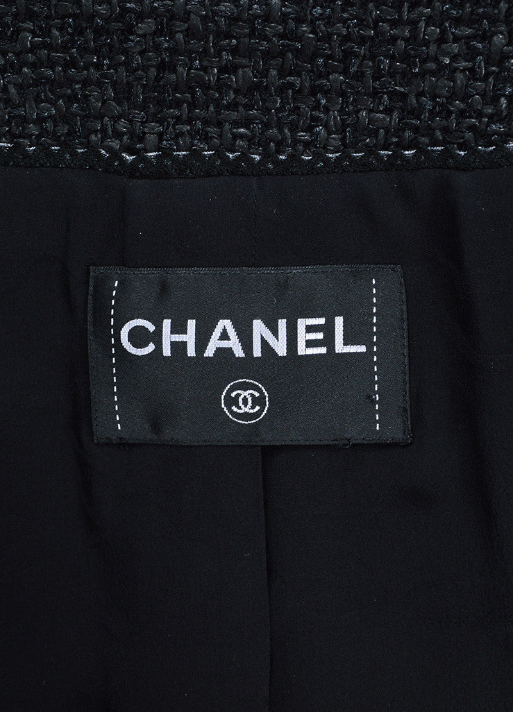 Black Chanel Coated Tweed 'CC' Button Collarless Jacket Brand