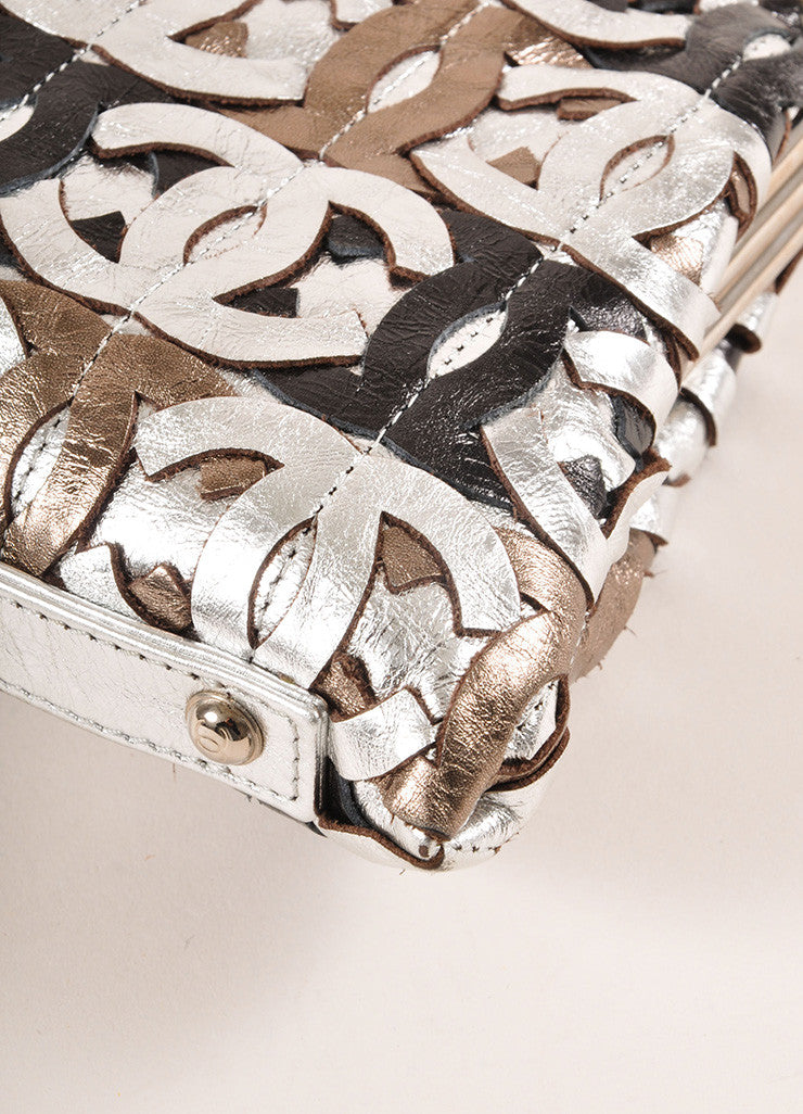"Chanel Black Metallic, Silver, and Bronze Leather ""CC"" Patchwork Clutch Bag Detail"