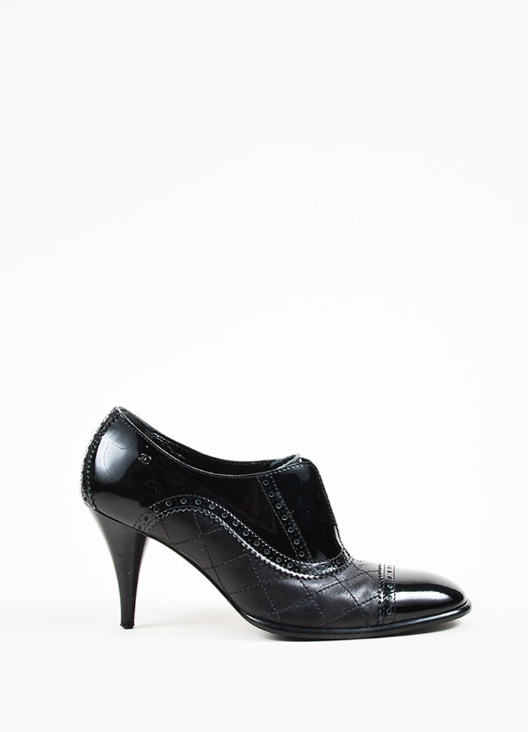 Chanel Black Patent Leather Quilted Brogue High Heeled Booties Sideview