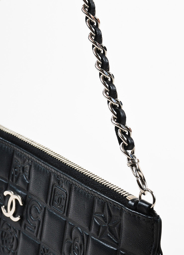 Chanel Black Quilted Embossed Leather 'CC' Logo Chain Strap Pochette Bag Detail 2