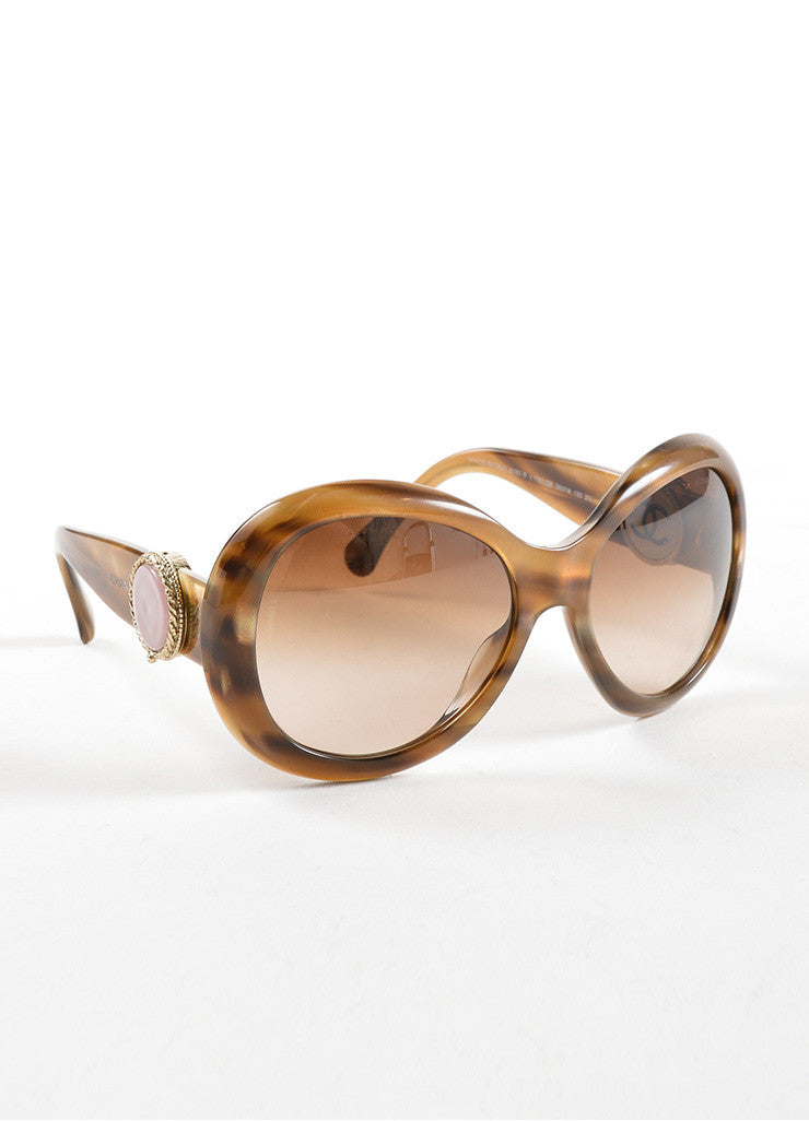 "Chanel Brown Striped ""5193 B"" Oversized Oval Sunglasses Sideview"