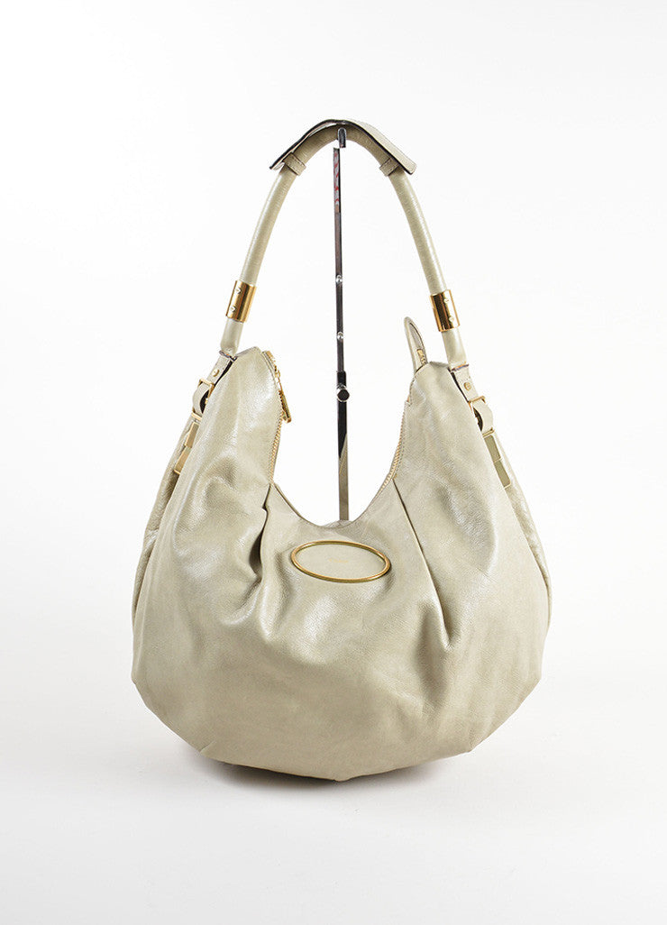 "Chloe Grey Leather Zipper Large ""Ethel"" Hobo Bag Frontview"