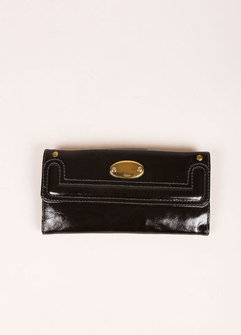 Chloe Black and Brass Tone Patent Leather Flap Continental Wallet Frontview