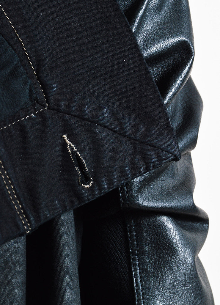 "DRKSHDW Rick Owens Black Leather Wax Cotton Draped Neck ""Exploder"" Jacket Detail"