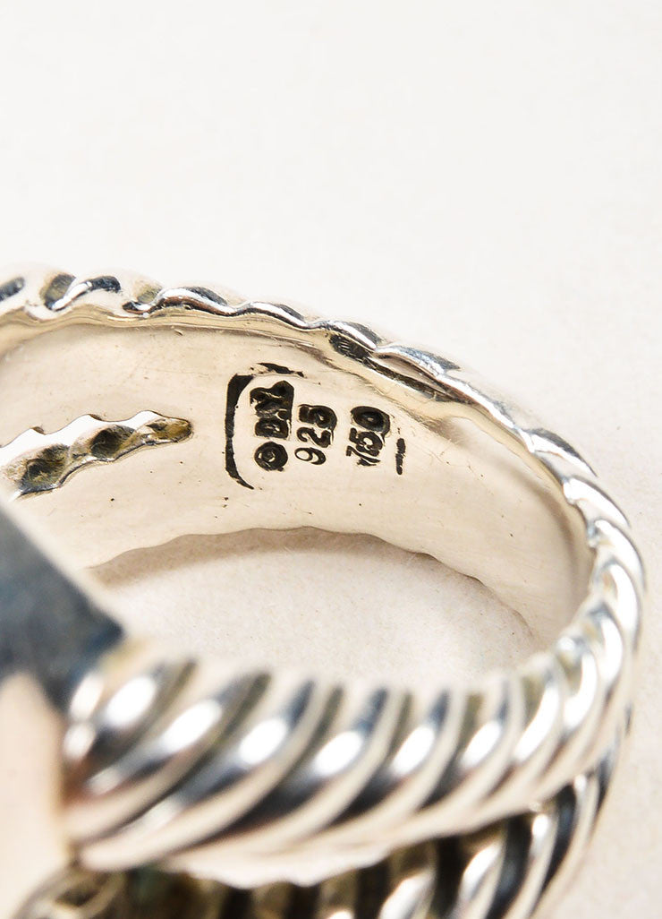 "David Yurman Sterling Silver, 18K Gold, and Smoky Quartz Diamond ""Albion"" Ring Brand"