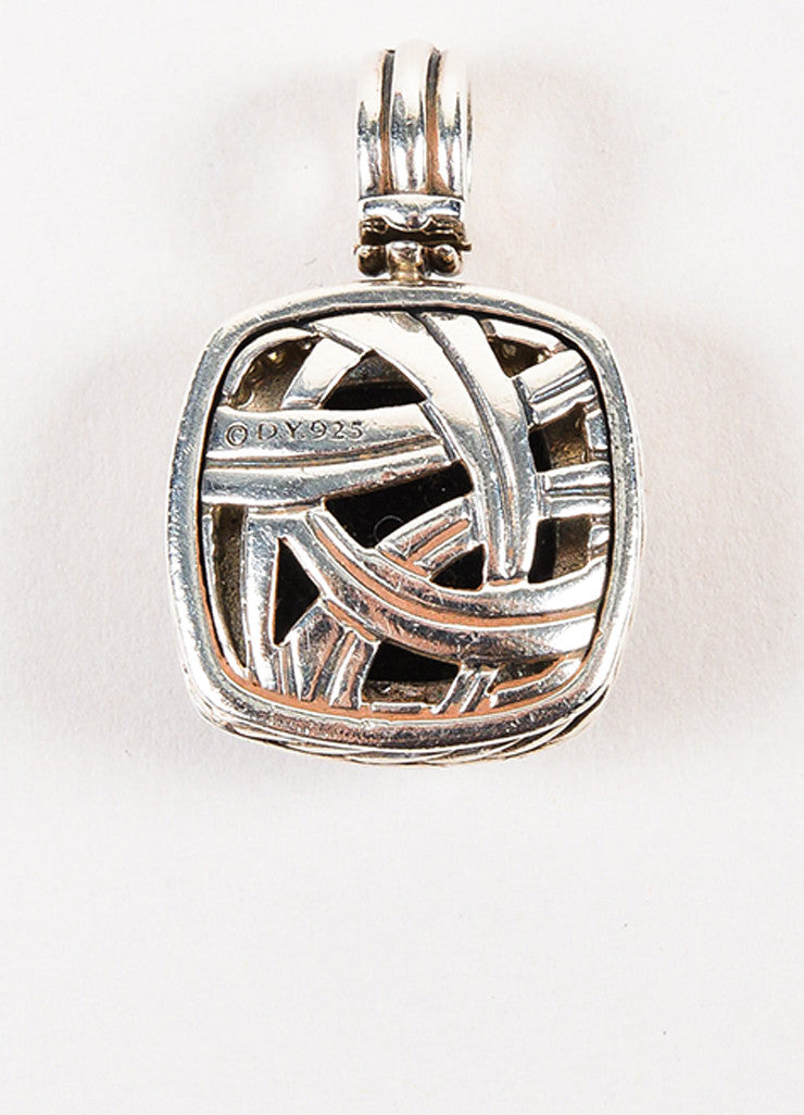 "David Yurman Sterling Silver, Black Onyx, and Pave Diamond ""Albion"" Pendant Enhancer Backview"