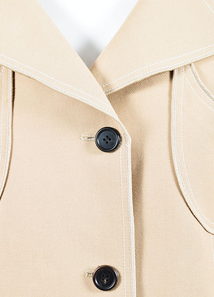 Beige and White Derek Lam Silk Blend Patch Pocket Trench Coat Detail