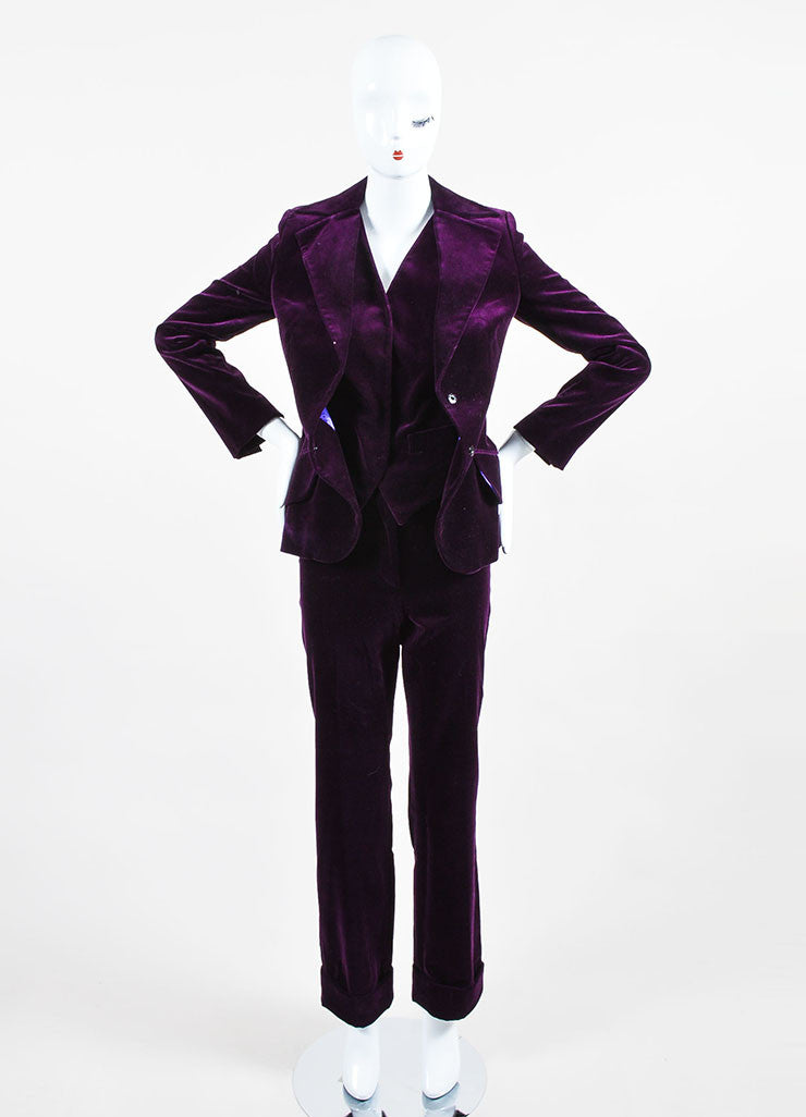 Dolce & Gabbana Purple Velvet 3 Piece Long Sleeve Jacket Vest Pants Suit Frontview