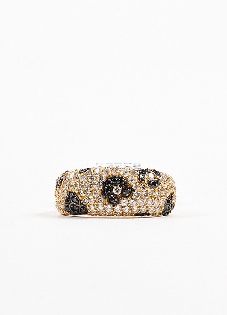 Effy 14K Yellow Gold Black Diamond Spotted Animal Print Ring Frontview