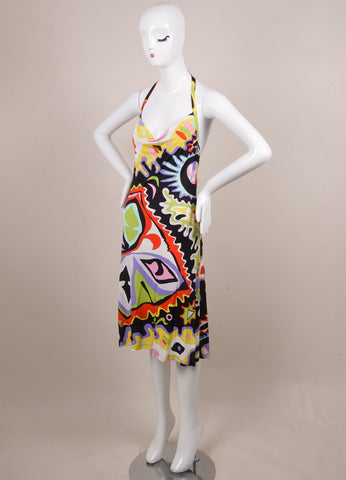 Emilio Pucci Black, White, and Red Abstract Print Cowl Neck Halter Dress Sideview