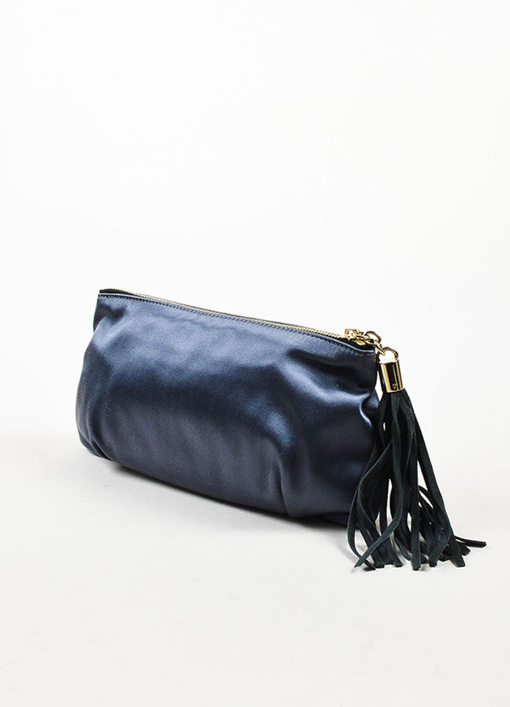 å´?ÌÜEmilio Pucci Steel Blue Grey Satin Suede Tassel Zip Clutch Pouch Bag Sideview