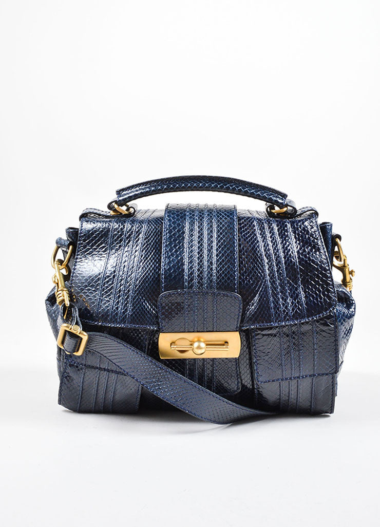 Escada Navy Blue Snakeskin Handbag With Shoulder Strap Front