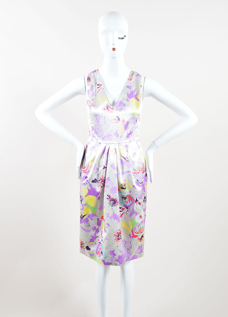 Etro Multicolor Floral Print Sleeveless Pleated Dress Front