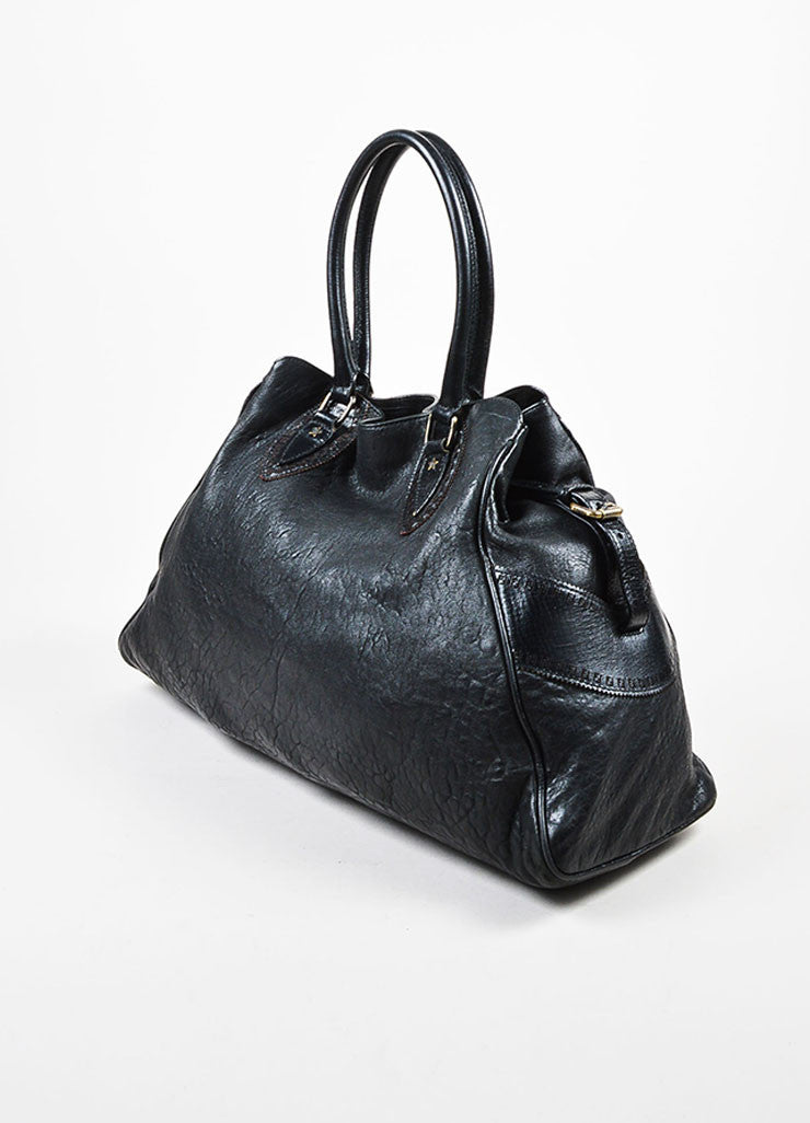 "Fendi Black Leather Top Handle Oversized ""Du Jour"" Shoulder Tote Bag Sideview"