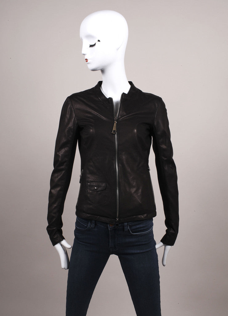 Gimos New With Tags Brown and Black Leather Knit Trim Zipper Jacket Frontview