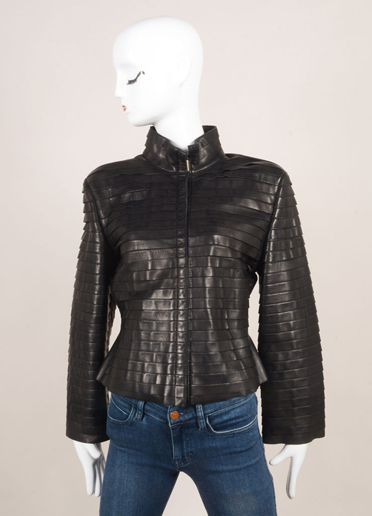 Giorgio Armani Black Tiered Leather Jacket Frontview