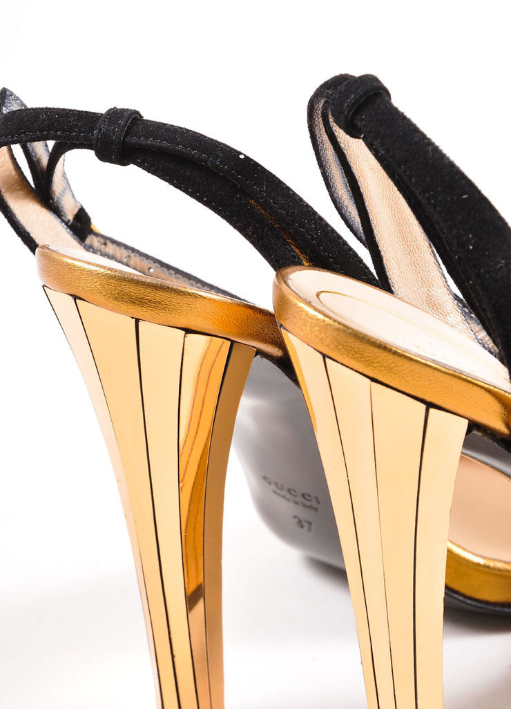 "Gucci Black and Gold Toned Suede Metallic Mirrored ""Delphine"" Sandals Detail"