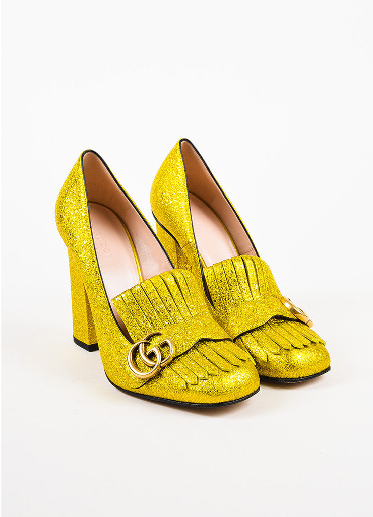 "Gucci Yellow Gold Metallic Leather Foil 'GG' ""Marmont"" Loafer Heels Frontview"