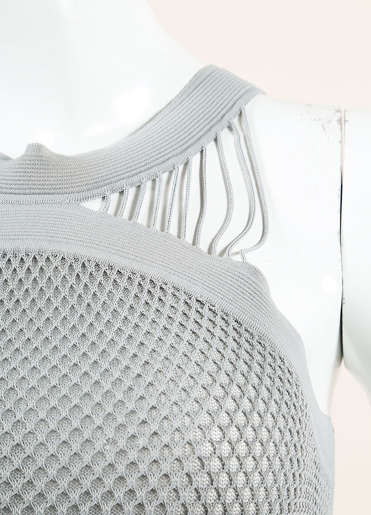 Gucci Grey Stretch Mesh Knit Ribbed Sleeveless Top  Detail