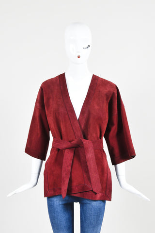 Dark Red Gucci Suede Leather Crop Sleeve Belted Wrap Jacket  Frontview