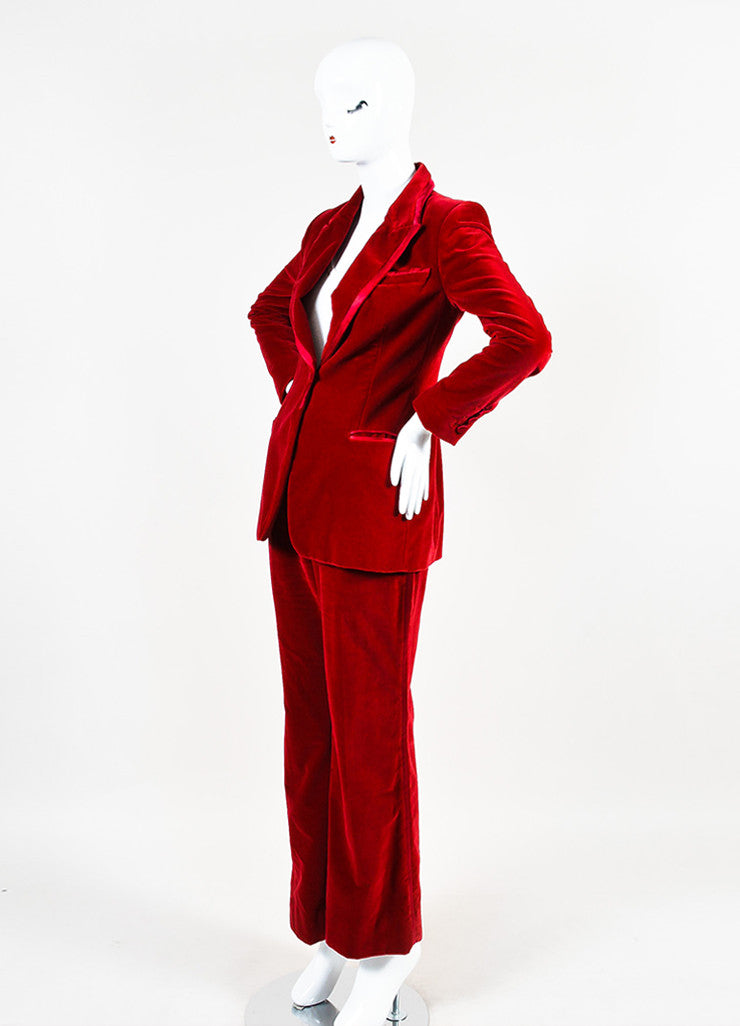 Gucci Red Velvet Satin Trim Wide Leg High Waist Tuxedo Pantsuit Sideview
