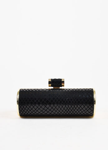 Halston Heritage Black and Gold Embossed Snakeskin Minaudiere Roll Clutch Bag Frontview