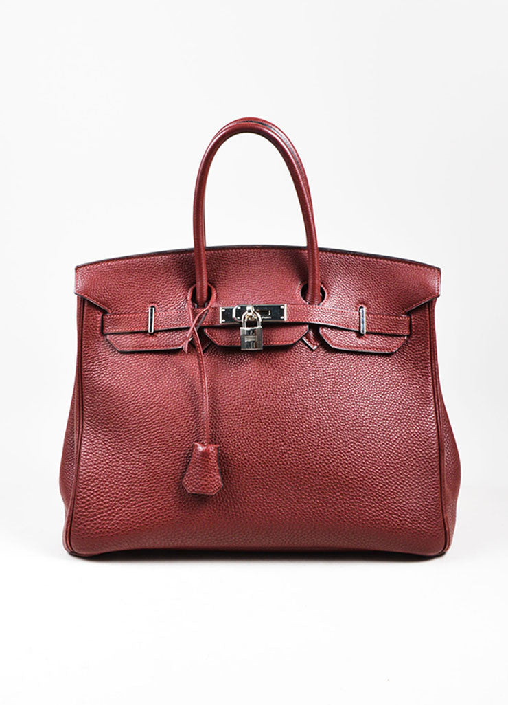 "Hermes Maroon Togo Leather Silver Palladium Hardware 35cm ""Birkin"" Handbag Frontview"