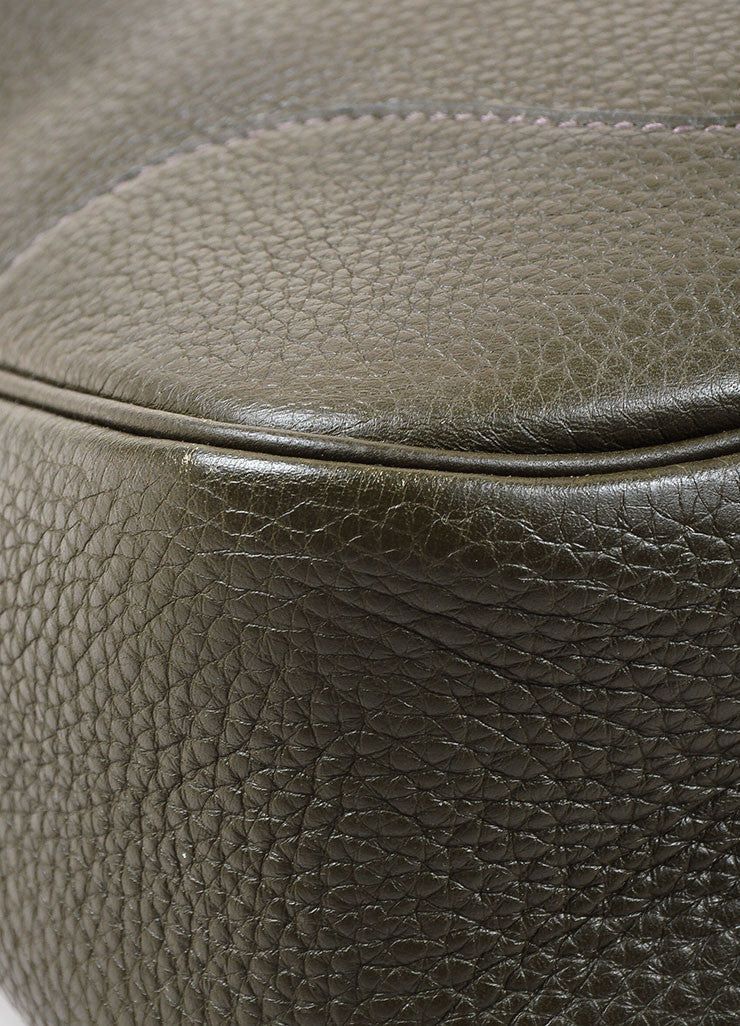 "Hermes Olive Green and Gold Toned Togo Leather 31cm ""Trim II"" Hobo Bag Detail"