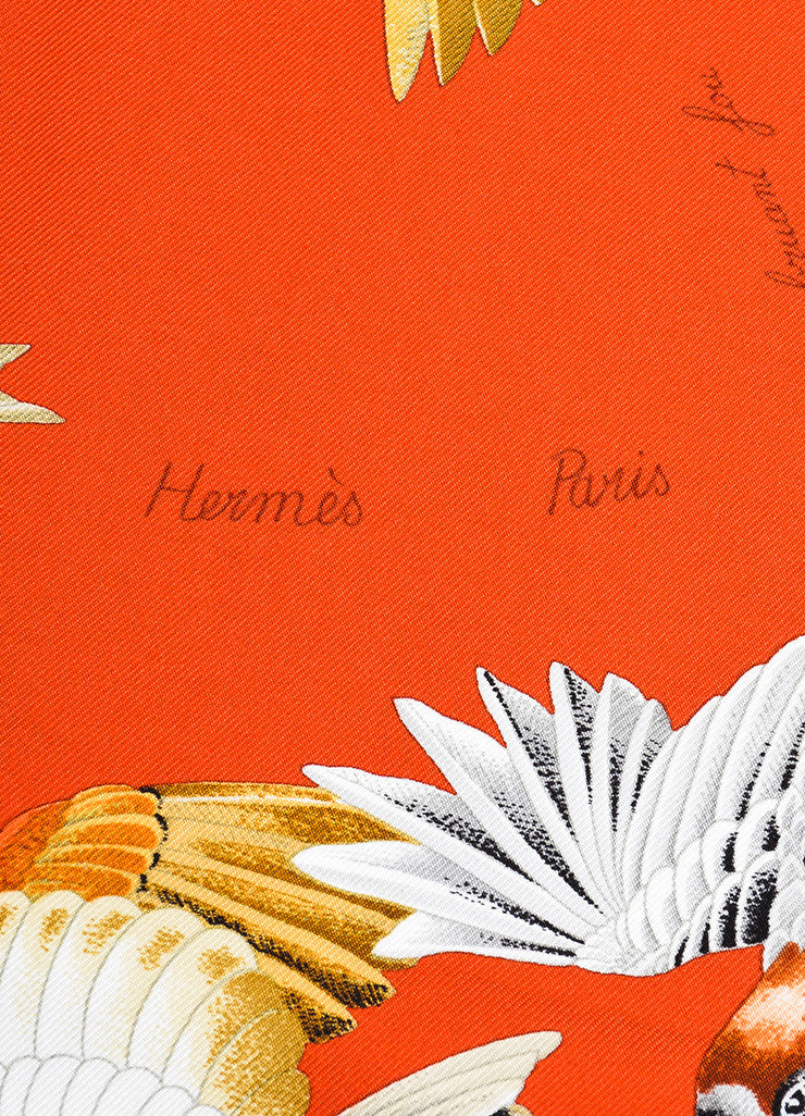 "Hermes Orange and Multicolor Silk ""L'Intrus"" Bird Print Square Scarf Brand"