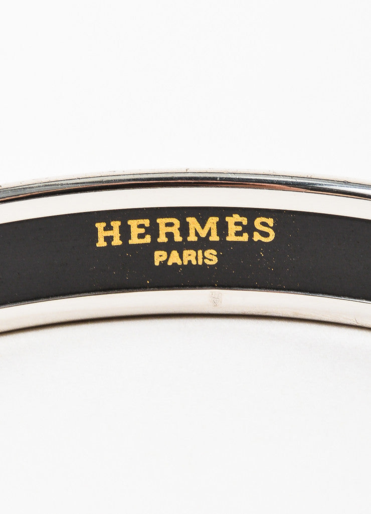 Hermes Silver Toned, Yellow, and Cream Enamel Printed Bangle Bracelet brand