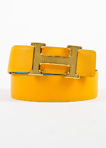 "Hermes ""Jaune D'or"" Yellow and ""Bleu Jean"" Blue Epsom Leather ""Constance"" Belt Frontview"