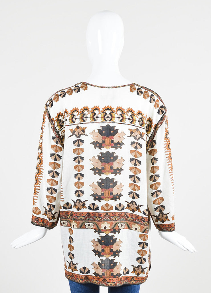 Cream, Brown, and Orange Isabel Marant Printed Tunic Top Backview