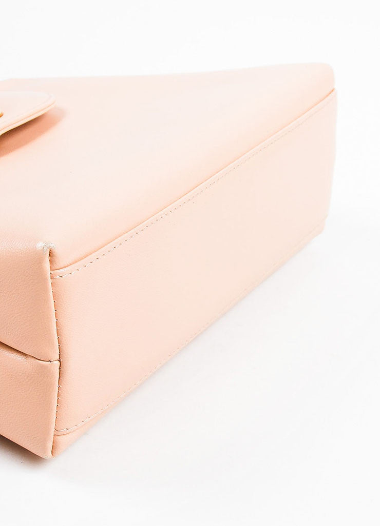 Pink Chanel Leather 'CC' Stand Handle Structured Bag Bottom
