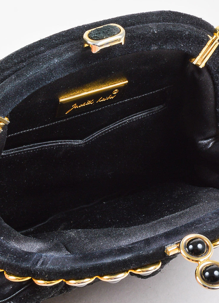 Judith Leiber Black Embroidered Suede Enamel Trim Chain Strap Bag Interior