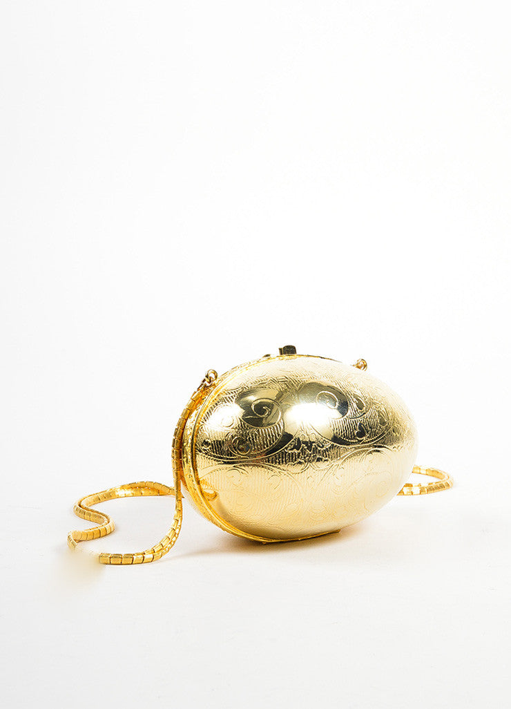 Judith Leiber Gold Toned Metallic Round Hinged Egg Etched Shoulder Bag Sideview