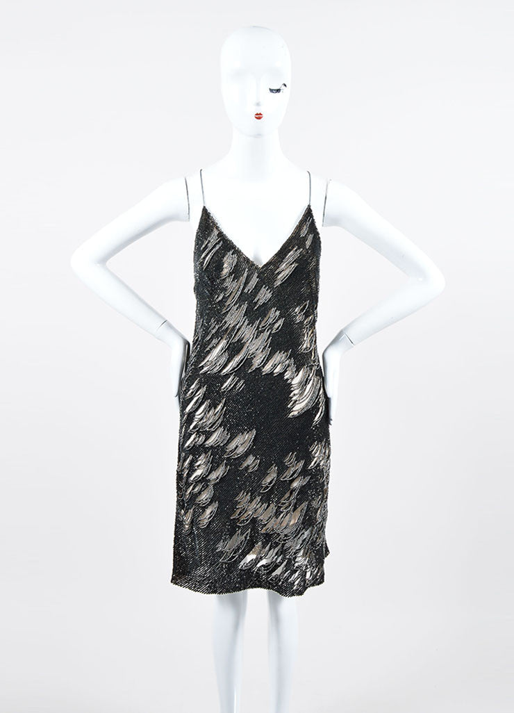 Dark Grey and Silver Sequin Beaded Sleeveless Kaufmanfranco Mini Dress Frontview