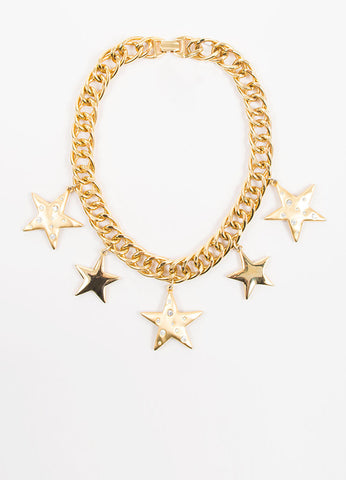 Gold Toned and Rhinestone Kenneth Jay Lane Star Pendants Curb Chain Necklace Frontview