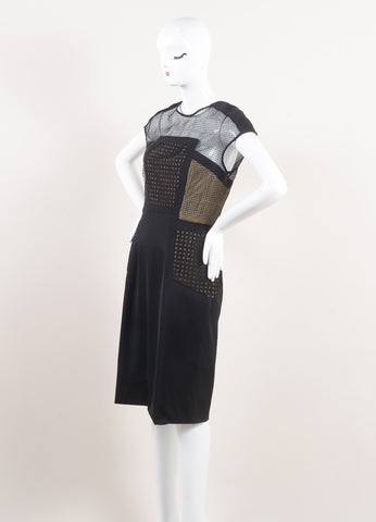 Lela Rose New With Tags Black and Nude Wool Blend Mesh Insert Sleeveless Shift Dress Sideview