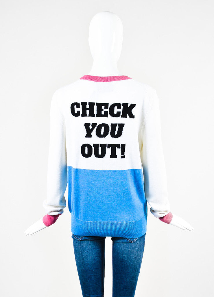 "Libertine White Cashmere Book Print ""Check You Out!"" Sweater  Backview"