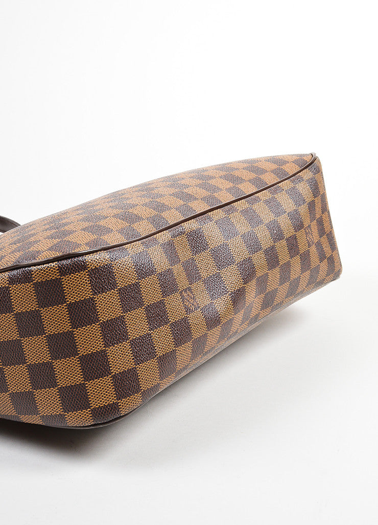 "Brown Louis Vuitton Coated Canvas Damier Print ""Paroli PM"" Shoulder Bag Bottom View"