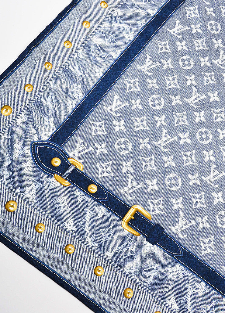 Louis Vuitton Blue and White Silk Monogram Belt Print Square Scarf Detail