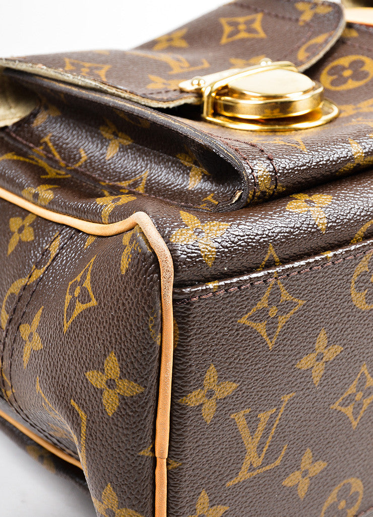 "Brown and Tan Louis Vuitton Canvas and Leather LV Monogram ""Manhattan GM"" Statement Bag Detail"