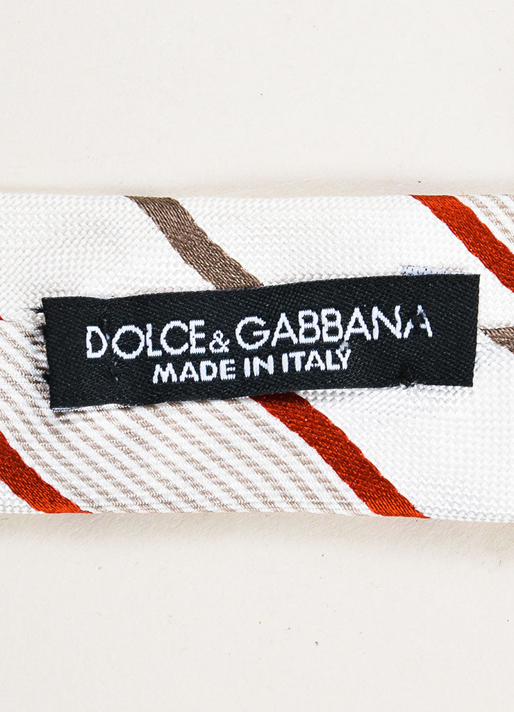 Men's Dolce & Gabbana Cream Grey Red Silk Striped Skinny Tie Brand