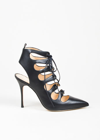 "Black Manolo Blahnik Leather Lace Up Pointed Toe ""Latta"" Pumps Sideview"