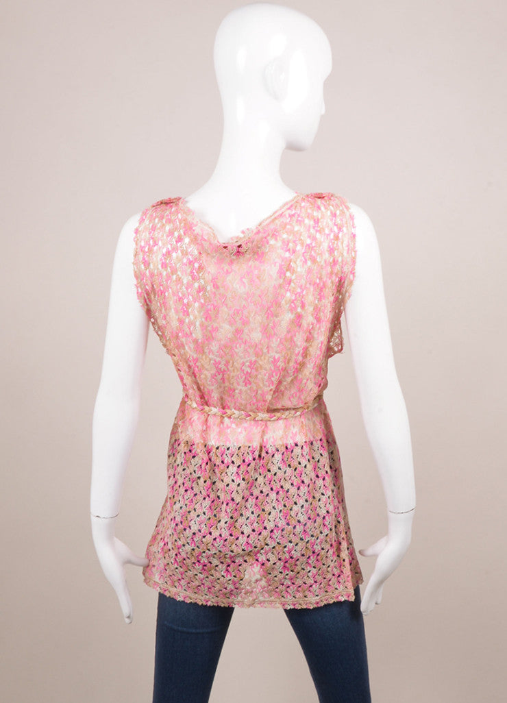Missoni Pink and Tan Knit Belted Sleeveless Draped Tunic Top Backview