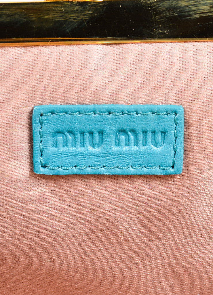 Miu Miu Teal Blue Matelasse Leather Textured Quilted Rhinestone Clutch Bag Brand