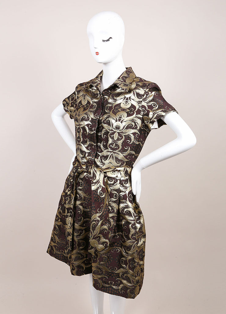 Naeem Khan New With Tags Gold and Brown Brocade Short Sleeve Belted Wool and Silk Shirt Dress Sideview